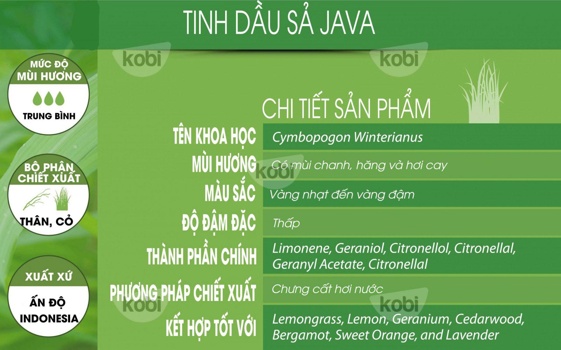 Tinh dầu sả java kobi (Citronella java essential oil)
