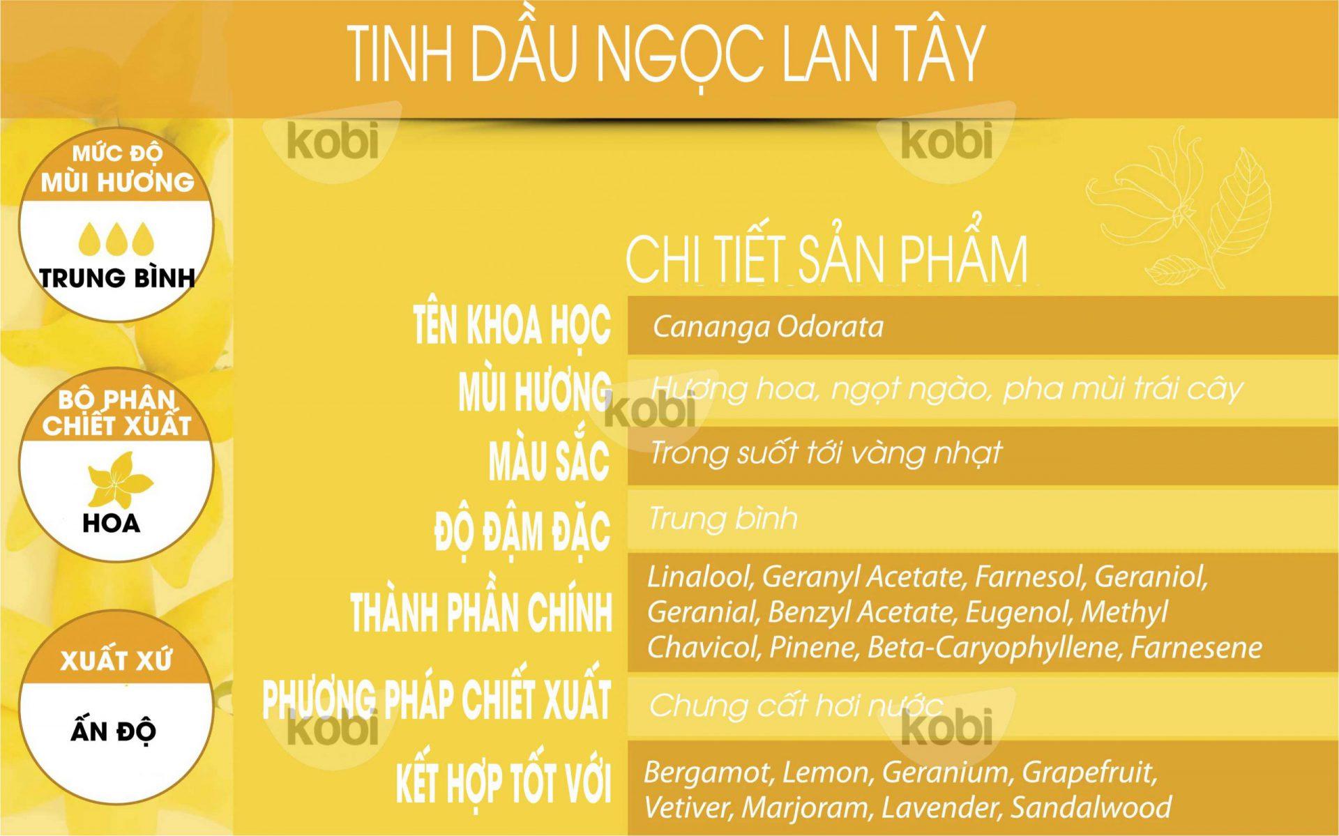 Tinh dầu ngọc lan tây Kobi (Ylangylang essential oil)